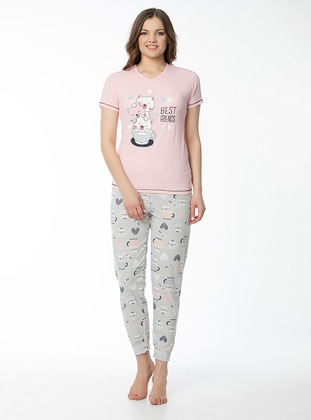 Salmon - V neck Collar - Multi - Pyjama Set