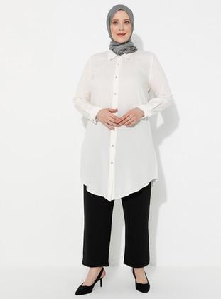 Ecru - Point Collar - Viscose - Plus Size Tunic