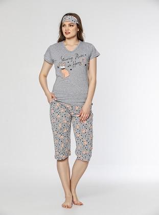 Gray - Crew neck - Multi - Cotton - Pyjama Set