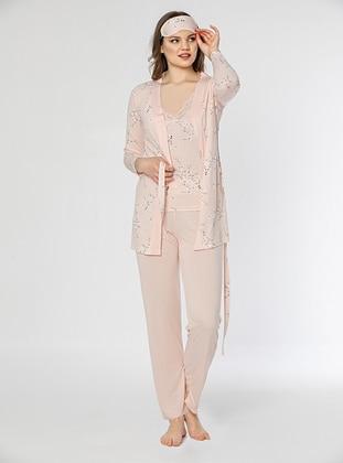 Salmon - V neck Collar - Floral - Pyjama Set
