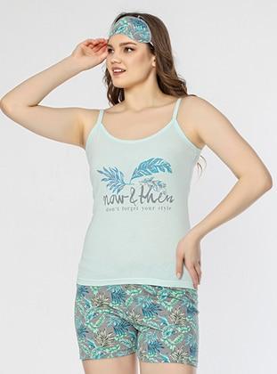 Green - Crew neck - Floral - Pyjama Set