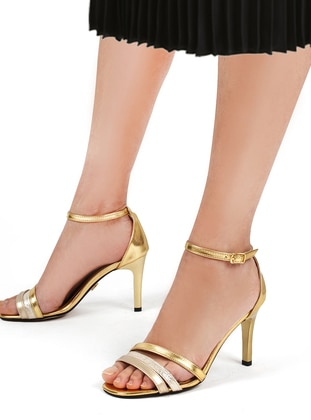 Gold - High Heel - Evening Shoes
