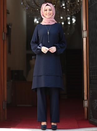Unlined - Navy Blue - Crew neck - Evening Suit