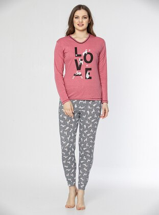 Multi - Pink - Crew neck - Multi - Pyjama Set