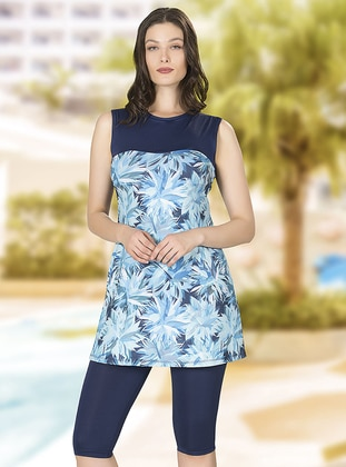 Navy Blue - Multi - Half Covered Switsuits