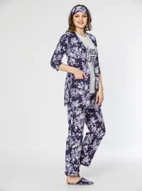 Purple - Crew neck - Floral - Cotton - Pyjama Set