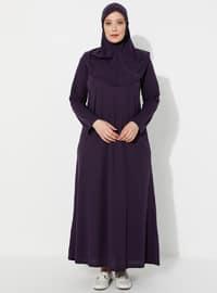 Mürdüm - Astarsız Kumaş - Tesettür Elbise