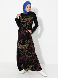 Terra Cotta - Black - Multi - Crew neck - Unlined - Dress