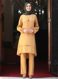 Unlined - Mustard - Crew neck - Evening Suit