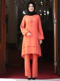 Unlined - Orange - Crew neck - Evening Suit