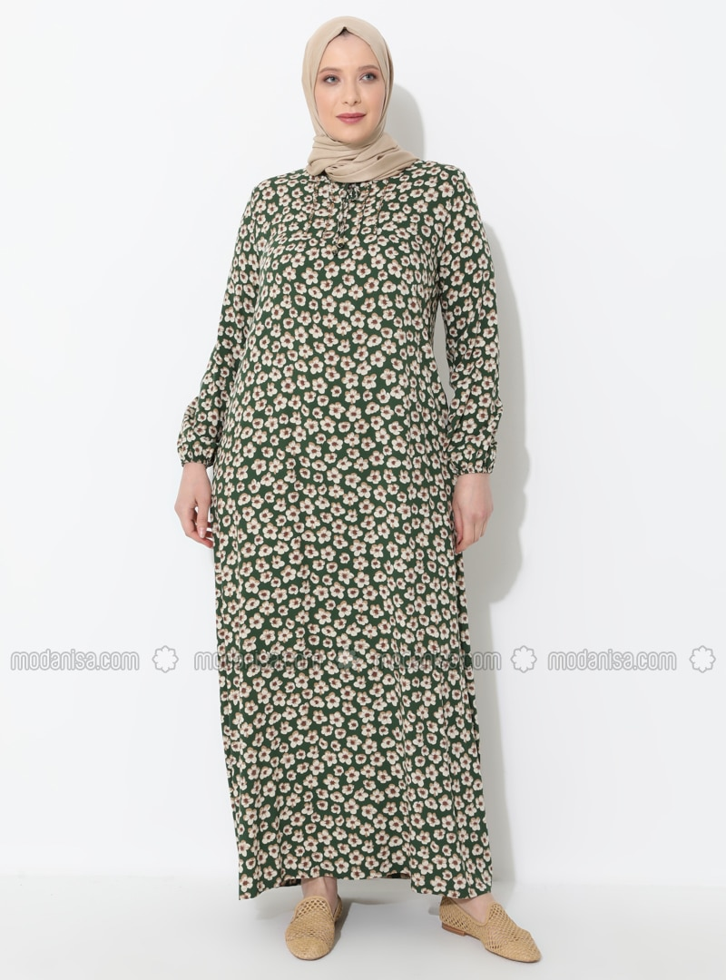Green - Floral - Unlined - Crew neck - Plus Size Dress