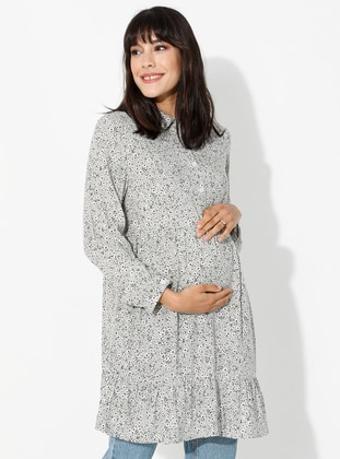 Mint - Point Collar - Floral - Viscose - Maternity Tunic