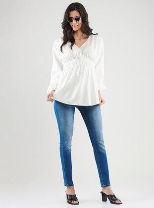 Ecru -  - V neck Collar - Maternity Blouses Shirts