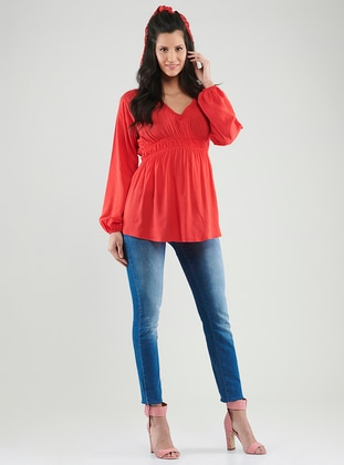 Red -  - V neck Collar - Maternity Blouses Shirts