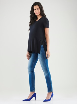 Navy Blue -  - Crew neck - Maternity Blouses Shirts
