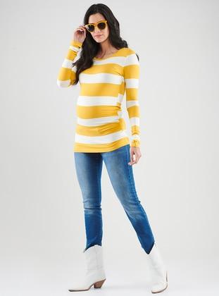 Yellow -  - Crew neck - Maternity Blouses Shirts