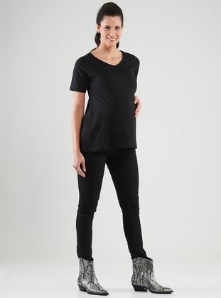 Black -  - Crew neck - Maternity Blouses Shirts