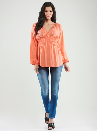 Orange -  - V neck Collar - Maternity Blouses Shirts