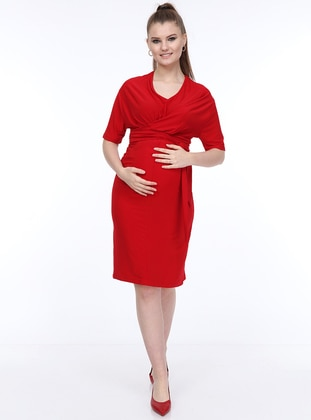 Red - V neck Collar - Unlined -  - Maternity Dress