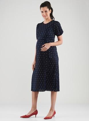 Navy Blue - Crew neck - Unlined -  - Maternity Dress