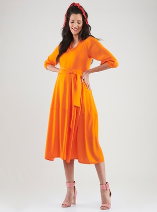 Orange - Crew neck - Unlined -  - Maternity Dress