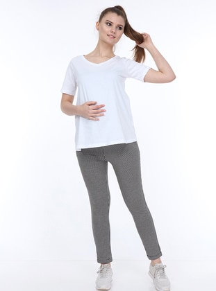 White - Black -  - Unlined - Maternity Pants
