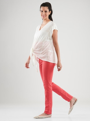 Pink -  - Unlined - Maternity Pants