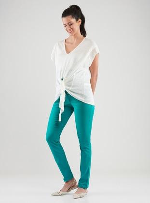 Green - Denim -  - Unlined - Maternity Pants