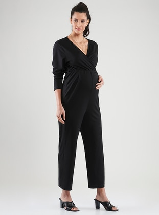 Black - V neck Collar - Unlined -  - Maternity Dress