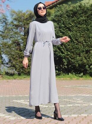Gray - Crew neck - Unlined - Viscose - Dress