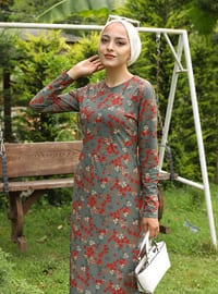 Mint - Multi - Crew neck - Dress