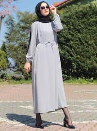Gray - Gray - Crew neck - Unlined - Viscose - Modest Dress