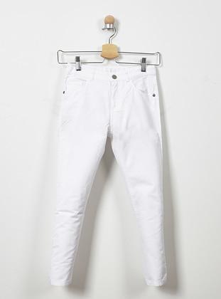 Cotton - White - Boys` Pants