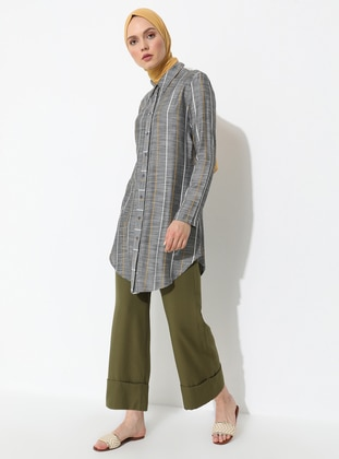 Khaki - Viscose - Pants