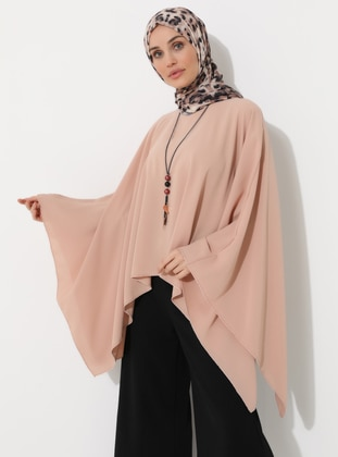 Dusty Rose - Crew neck - Unlined - Poncho