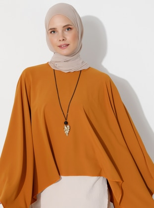 Mustard - Crew neck - Unlined - Poncho