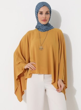 Mustard - Yellow - Crew neck - Unlined - Poncho