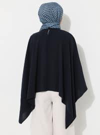 Navy Blue - Crew neck - Unlined - Poncho