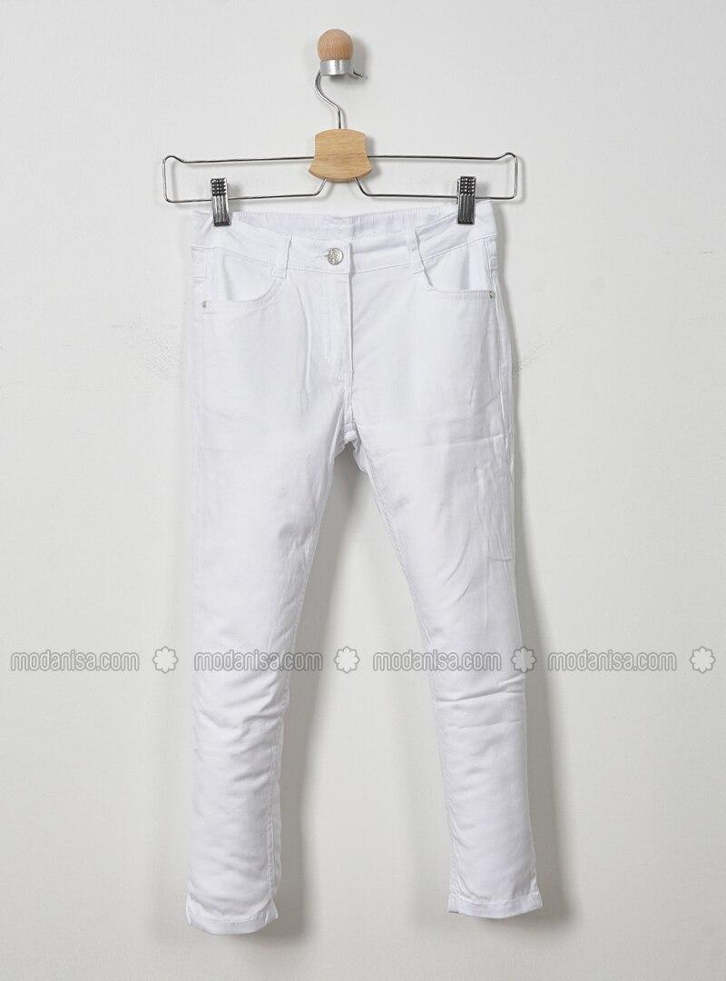 Cotton - White - Girls` Pants