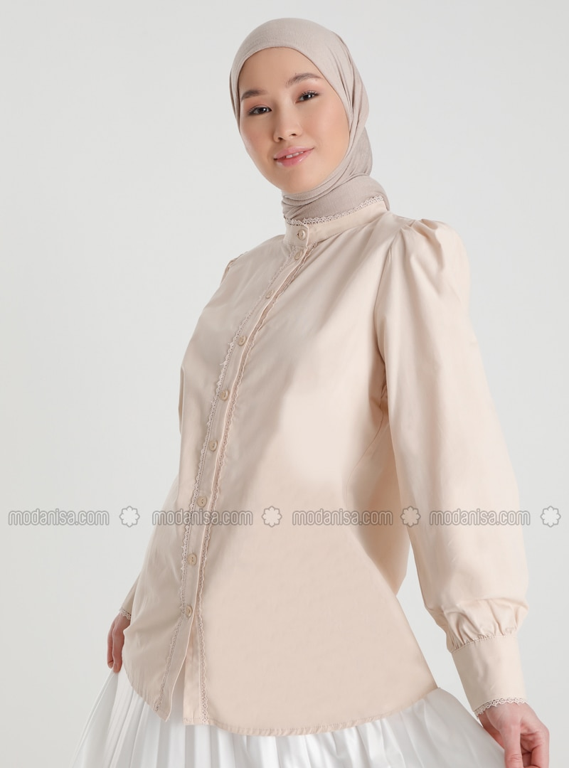 Natural Fabric Lace Ribbon Detailed Shirt - Beige - Woman