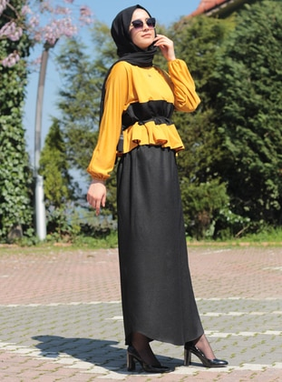 Yellow - Black - Unlined - Suit