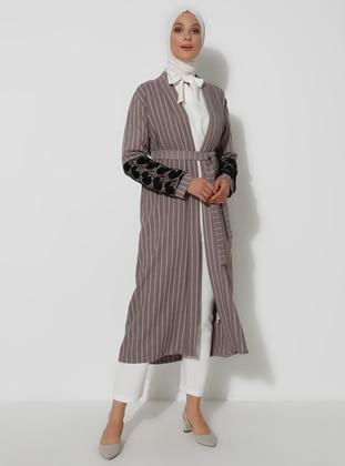 Gray - Stripe - Unlined -  - Topcoat