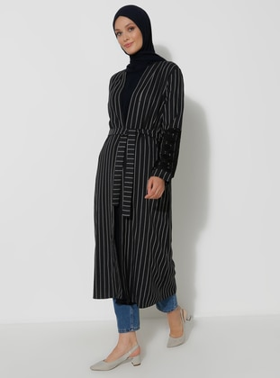 Navy Blue - Stripe - Unlined -  - Topcoat
