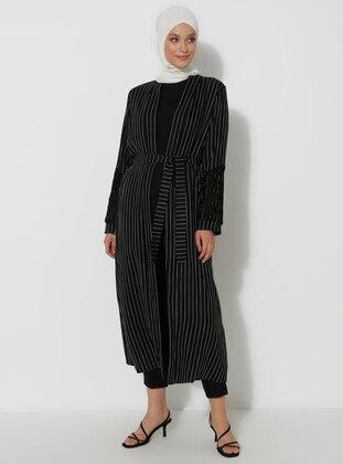 Black - Stripe - Unlined -  - Topcoat