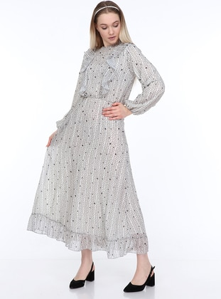 Gray - Multi - Crew neck - Fully Lined - Dress