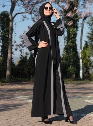 Gray - Black - Unlined - Abaya