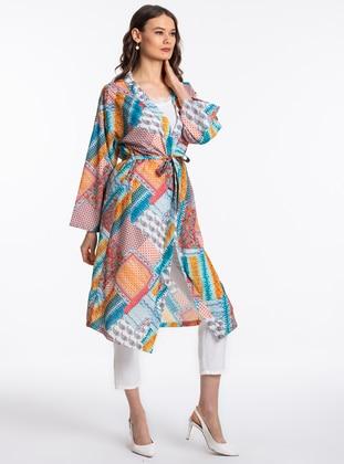 Turquoise - Checkered - Multi - Unlined - V neck Collar - Abaya