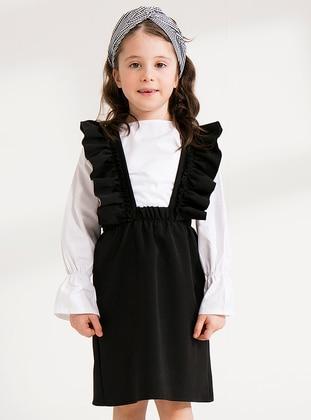 Black - Cotton - Unlined - Black - Girls` Dress