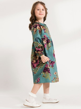 Floral - Round Collar -  - Unlined - Multi - Plum - Girls` Dress