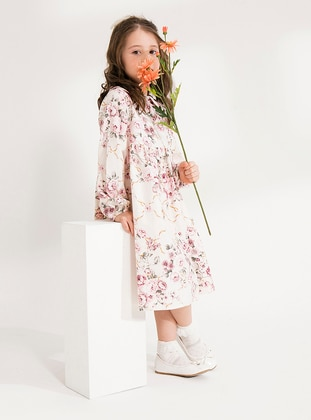 Pink - Floral - Round Collar - Cotton - Unlined - Pink - Girls` Dress